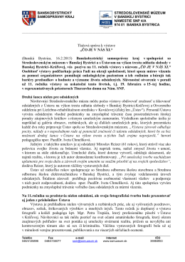 """Tlačová správa k výstave """"ČO JE V NÁS XI."""""""