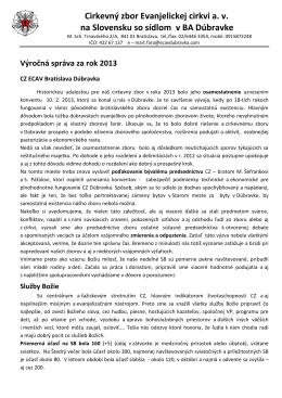 Výročná správa za rok 2013