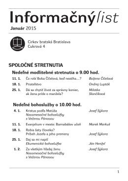 Január 2015 - Cirkev bratská v Bratislave