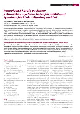 Imunologický profil pacientov s chronickou myelózou