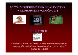 význam súkromného vlastníctva v slobodnej spoločnosti