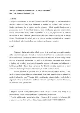 O jazyku a sexualite1 doc. PhDr. Dagmar Marková