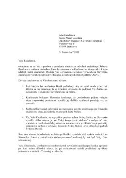 Jeho Excelencia Mons. Mario Giordana Apoštolský nuncius v
