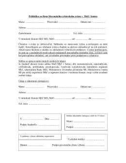 Prihláška za člena Slovenského rybárskeho zväzu v MO