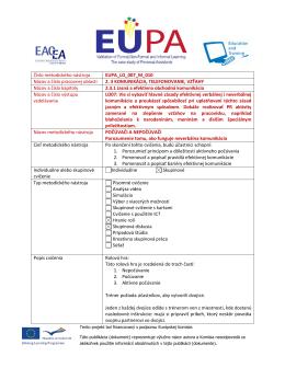 Číslo metodického nástroja EUPA_LO_007_M_010 Názov a číslo