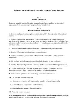 Rokovací poriadok komisie obecného zastupiteľstva v Sačurove