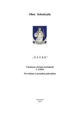 Návrh VZN o prevádzkovom poriadku pohrebiska
