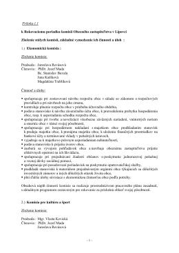 Príloha č.1 k Rokovaciemu poriadku komisií Obecného