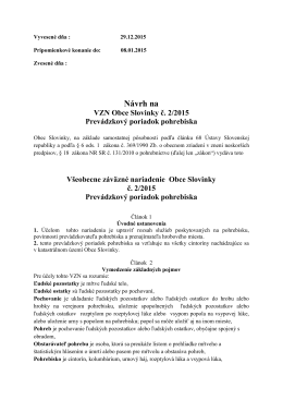 Návrh VZN 2/2015 Prevádzkový poriadok pohrebiska