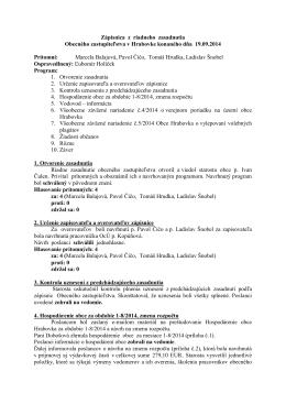 Zápisnica a uznesenia OcZ z 19.9.2014