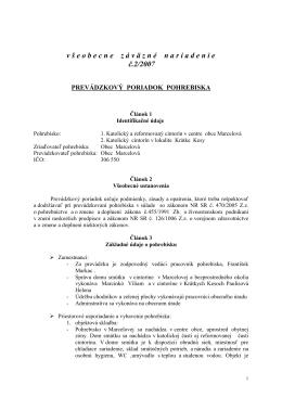 VZN č. 2/2007 prevádzkový poriadok pobrebiska