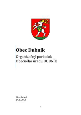 Organizačný poriadok obecného úradu Dubník