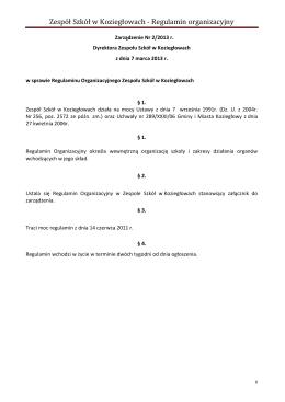 Protokół kontroli z dnia 30.11.2012r. w Zespole Szkół