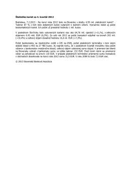 Štatistika kariet za 4. kvartál 2012 Bratislava, 7.2.2013
