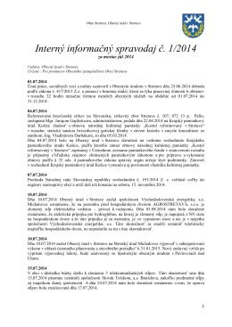 Interný informačný spravodaj č. 1/2014