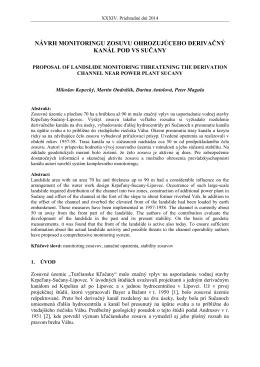 návrh monitoringu zosuvu ohrozujúceho derivačný kanál pod vs