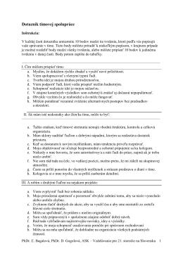 Dotazník tímovej spolupráce