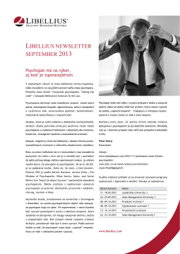 LIBELLIUS NEWSLETTER SEPTEMBER 2013
