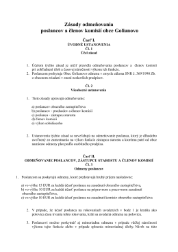 Zásady odmeňovania poslancov a členov komisií obce Golianovo
