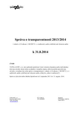 Správa o transparentnosti 2013/2014 k 31.8.2014