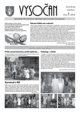 Vysočan, rok 2014, 1. číslo