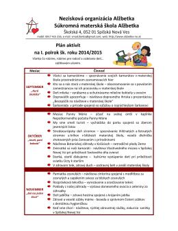 Plán aktivít na I. polrok školského roka 2014/2015