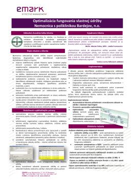 Optimalizácia fungovania vlastnej údržby Nemocnica s