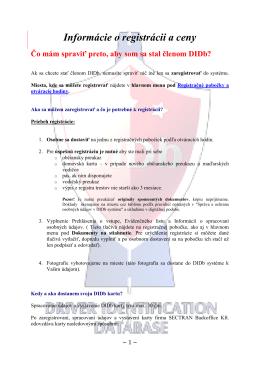 Informácie o registrácii a ceny