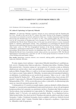 Marcel Lalkovič - Slovenské múzeum ochrany prírody a jaskyniarstva