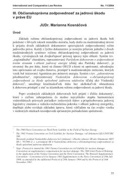 III. Občianskoprávna zodpovednosť za jadrovú škodu v práve EU