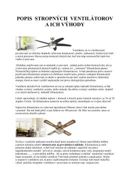 Popis Stopných ventilátorov Westinghouse - Ventilatory