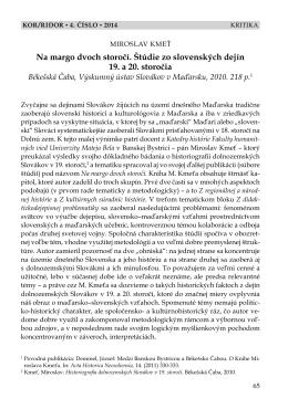 Na margo dvoch storočí. Štúdie zo slovenských dejín 19