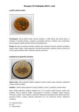 Recepty LTZ Podhájska 2014 1. časť