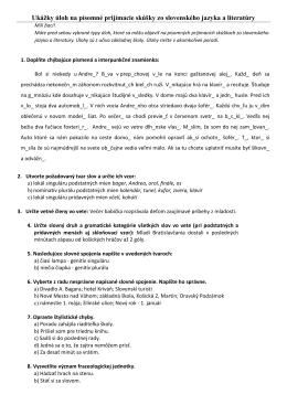 Ukážky úloh na písomné prijímacie skúšky zo slovenského jazyka a