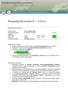 Podmienky absolvovania cvičení GRR sk. B a GS sk. A