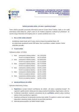 Súťažný poriadok súťaže - Regionálne poradenské a informačné