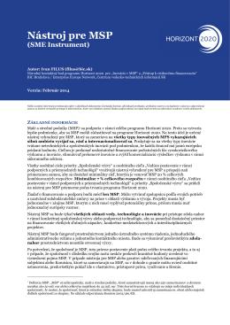 Nástroj pre MSP - Horizont 2020 - Centrum vedecko