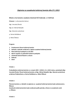 Zápisnica zo zasadnutia kultúrnej komisie dňa 27.1.2015