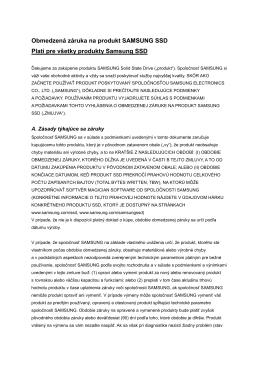 Obmedzená záruka na produkt SAMSUNG SSD Platí pre všetky
