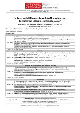 programme - xiv międzynarodowy kongres polskiego towarzystwa
