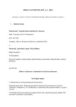 ZMLUVA O UBYTOVANÍ č. 4 /2013 - Tanečné konzervatórium Evy