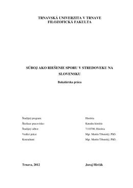 súboj ako riešenie sporu v stredoveku na slovensku
