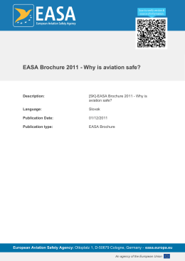 EASA Brochure 2011 - Why is aviation safe?
