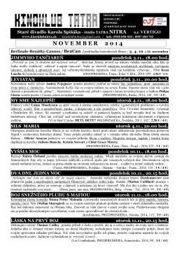 november 2014 - Kinoklub Nitra