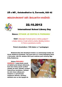 22.10.2012. medzinárodný deň školských knižníc