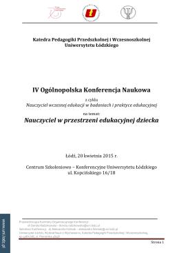 załączniku - Wydział Nauk o Wychowaniu Uniwersytetu Łódzkiego