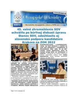 Olympijské aktuality 8/2013 - Slovenský olympijský výbor