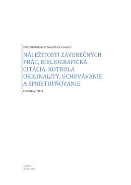 smernice rektora č. 1/2012 - Stredoeurópska vysoká škola v Skalici