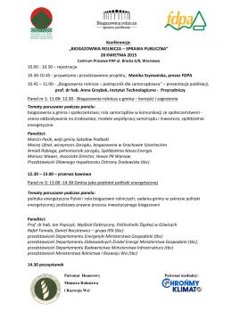 """Konferencja: """"BIOGAZOWNIA ROLNICZA – SPRAWA"""