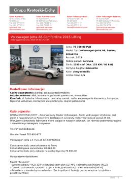 Pojazd Volkswagen Jetta A6 2015 Sedan / Limuzyna